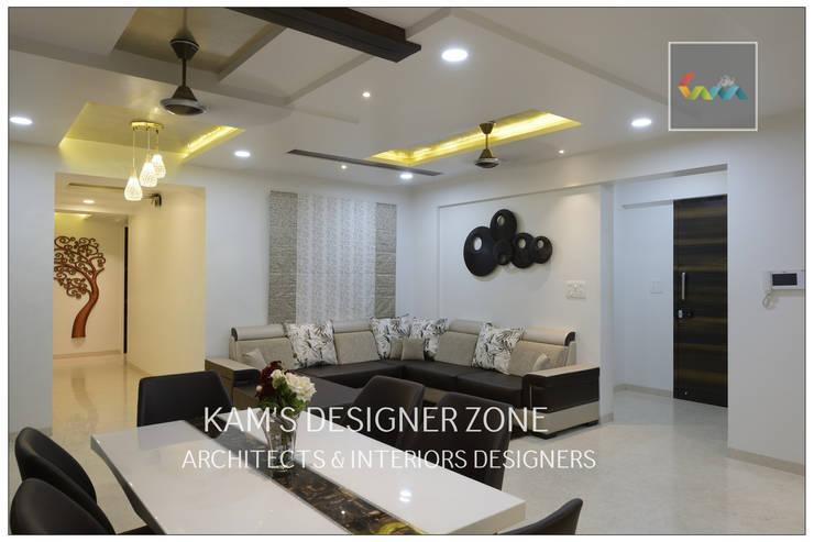 Flat Interior Design for PINKY AGARWAL: modern Living room by KAM'S DESIGNER ZONE