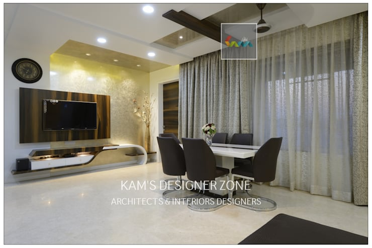 Flat Interior Design for PINKY AGARWAL:  Dining room by KAM'S DESIGNER ZONE