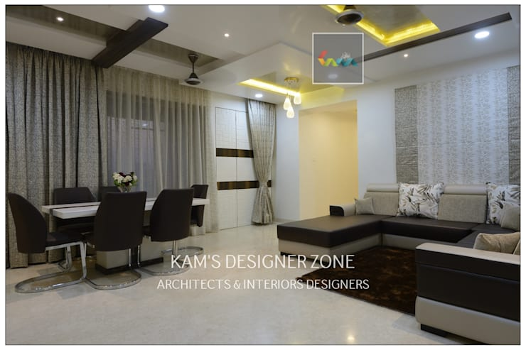 Flat Interior Design for PINKY AGARWAL:  Living room by KAM'S DESIGNER ZONE