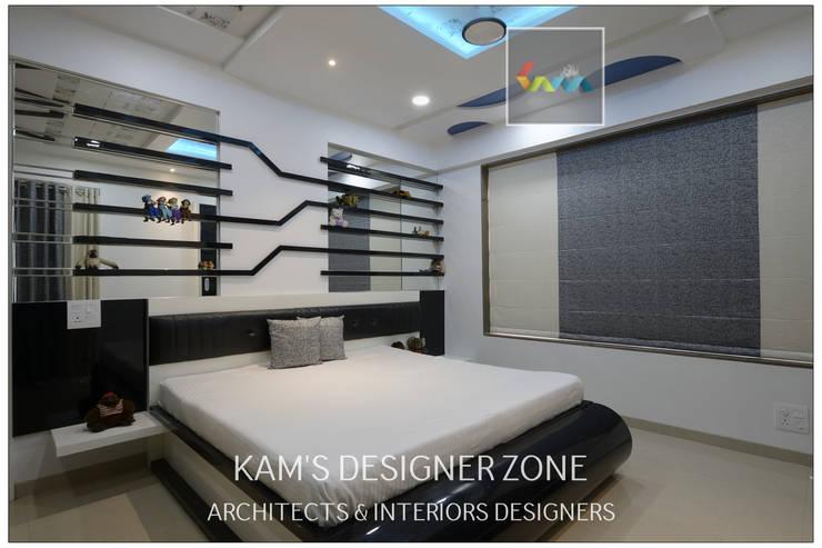Flat Interior Design for PINKY AGARWAL: modern Bedroom by KAM'S DESIGNER ZONE