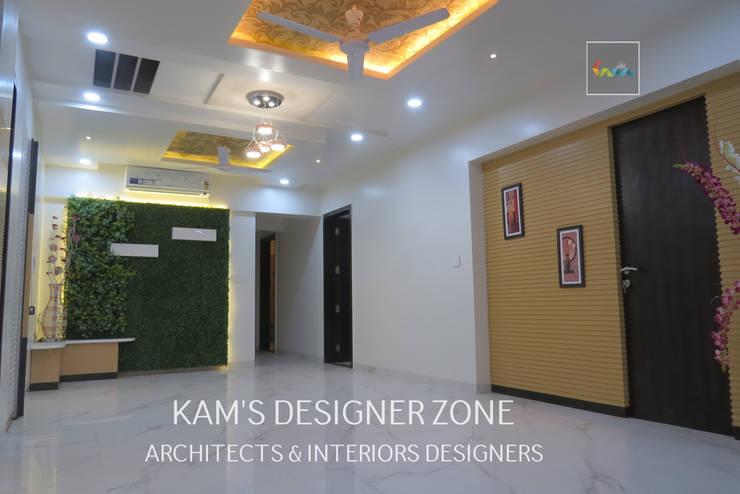 Home Interior Design for PREETI AGARWAL:  Living room by KAM'S DESIGNER ZONE,Modern