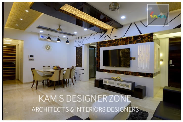 Home interior Design for Manish Thakkar: modern Living room by KAM'S DESIGNER ZONE