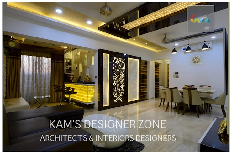 Home interior Design for Manish Thakkar:  Walls by KAM'S DESIGNER ZONE