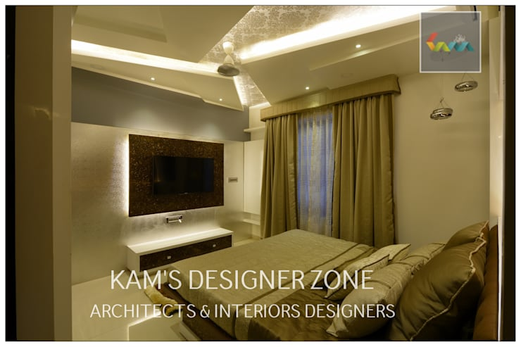 Home interior Design for Manish Thakkar: modern Bedroom by KAM'S DESIGNER ZONE