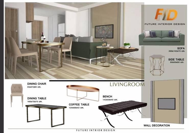 CIRCLE 2 (STYLE LUXURY):  ห้องนั่งเล่น by Future Interior Design Co.,Ltd.