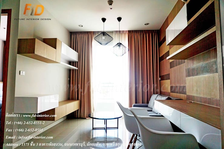 CIRCLE 1 (STYLE CONTEMPORARY & LOFT):  ห้องนั่งเล่น by Future Interior Design Co.,Ltd.
