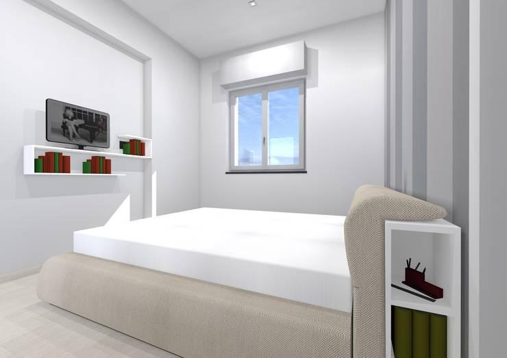 Studio dell\'arredo per camera da letto di piccole dimensioni ...
