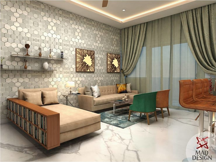 LIVING ROOM - VIEW 2:  Living room by MAD DESIGN