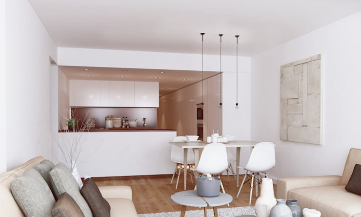"""The Closet"" - 80 m²-, Tarragona. Sala de estar-comedor-cocina.: Salones de estilo moderno de GokoStudio"