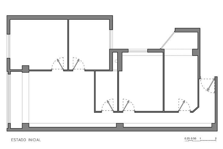 """The Closet"" - 80 m²-, Tarragona. Estado existente.: Dormitorios de estilo moderno de GokoStudio"