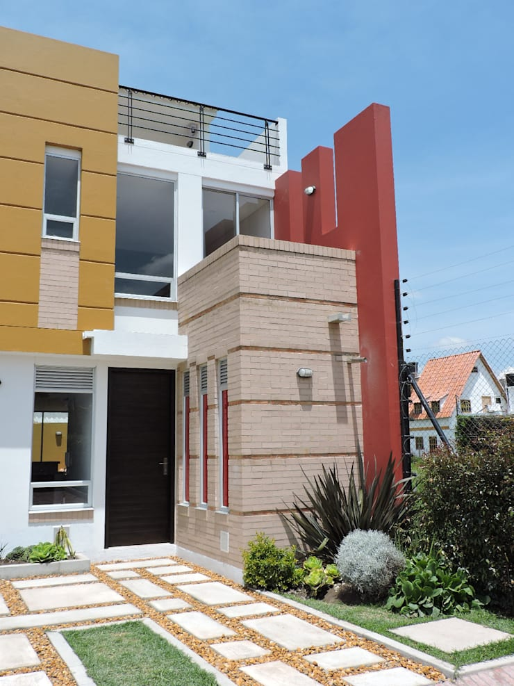 FACHADA CASA TERRACOTA: Casas de estilo  por DG ARQUITECTURA COLOMBIA, Moderno