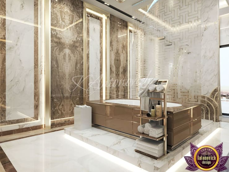 ​  Bathroom design in a modern style from Katrina Antonovich:  Bathroom by Luxury Antonovich Design