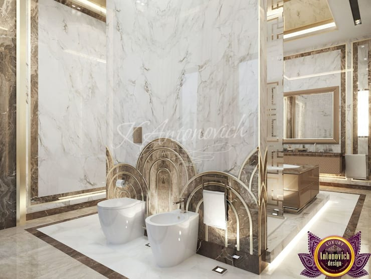 ​  Bathroom design in a modern style from Katrina Antonovich:  Bathroom by Luxury Antonovich Design, Modern