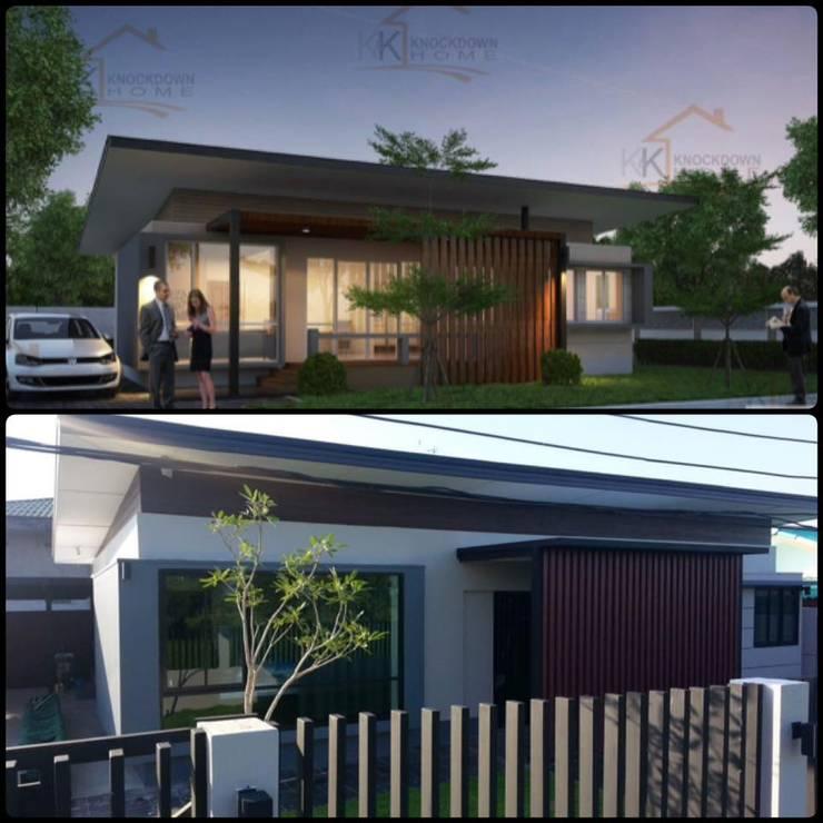 ภาพเปรียบเทียบระหว่างภาพ 3 มิติ กับ ผลงานสร้างเสร็จ:   by K&K Knockdownhome