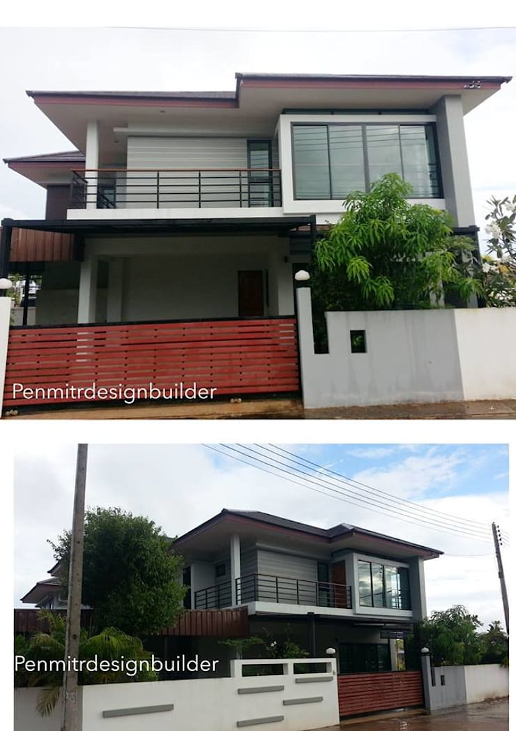 GN04:: บ้านสองชั้น สไตล์ทรอปปิคอลโมเดิร์น แบบบ้านท่าบ่อ หนองคาย :   by penmitrdesignbuilder