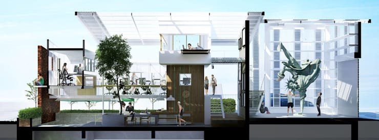 NEW DUCK UNIT OFFICE V2.:   by FATTSTUDIO ARCHITECT Co.,Ltd