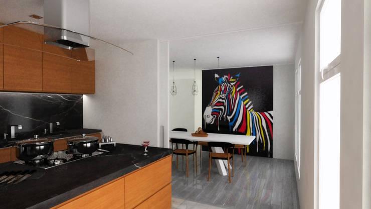 Casa Pacheco Visualizacion 3D Cocina:  de estilo  por RENDER STUDIO