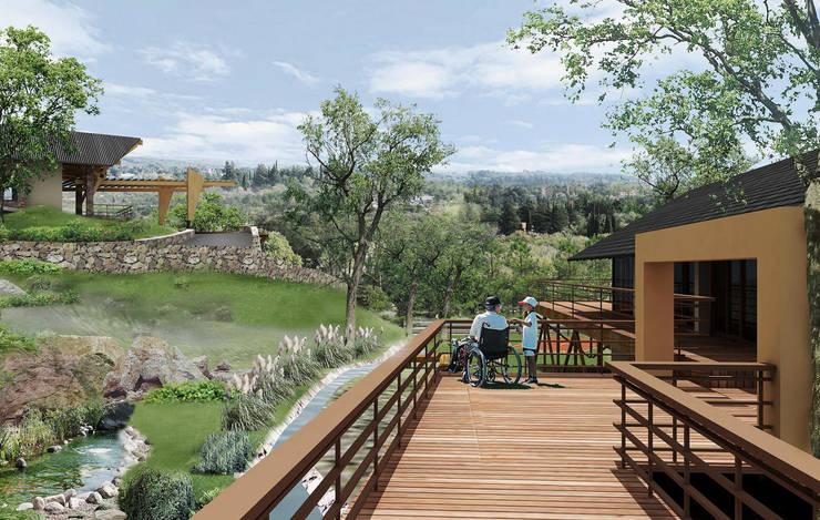Hotel Resort y Spa 5 estrellas Cerro Dorado: Jardines de estilo  por Development Architectural group