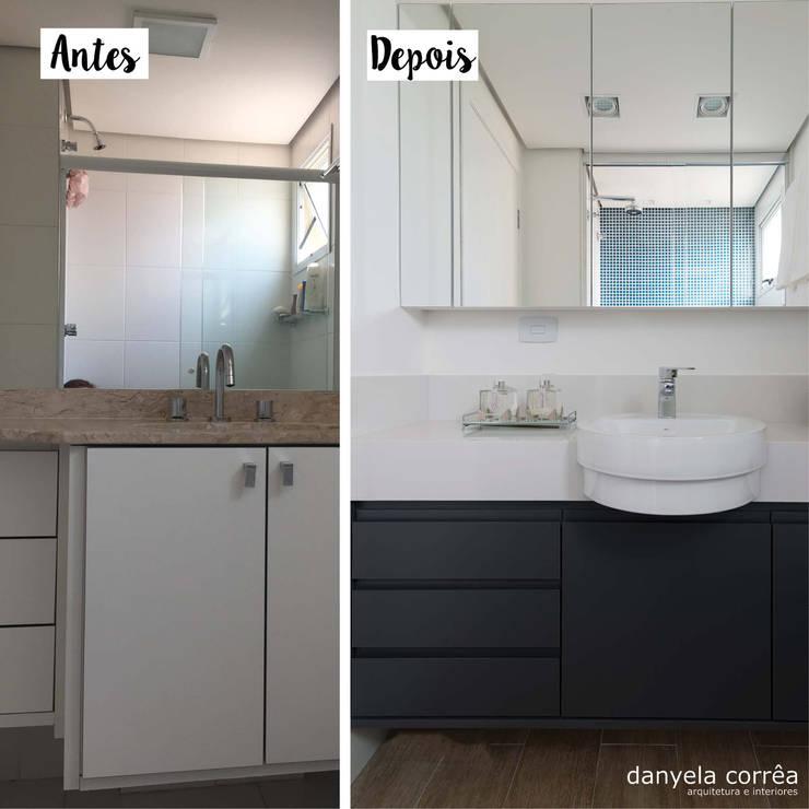 Antes e Depois - Banheiro Casal: Banheiros modernos por Danyela Corrêa Arquitetura