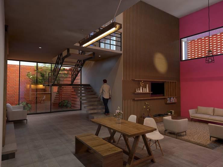 Casa Río: Salas de estilo  por Vintark arquitectura