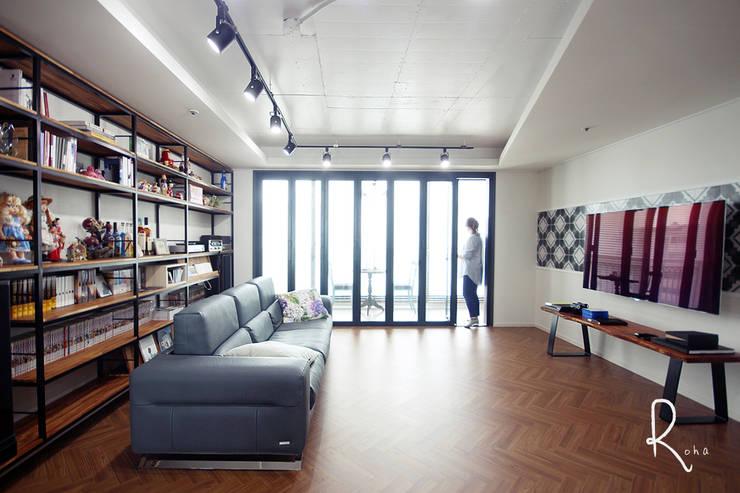 ห้องนั่งเล่น โดย 로하디자인, คันทรี่ ไม้ Wood effect