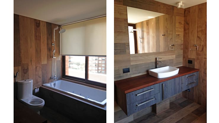 Penthouse Vitacura: Baños de estilo moderno por NEF Arq.