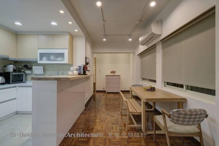 台北市忠孝東路三段設計裝修案:  餐廳 by Hi+Design/Interior.Architecture. 寰邑空間設計