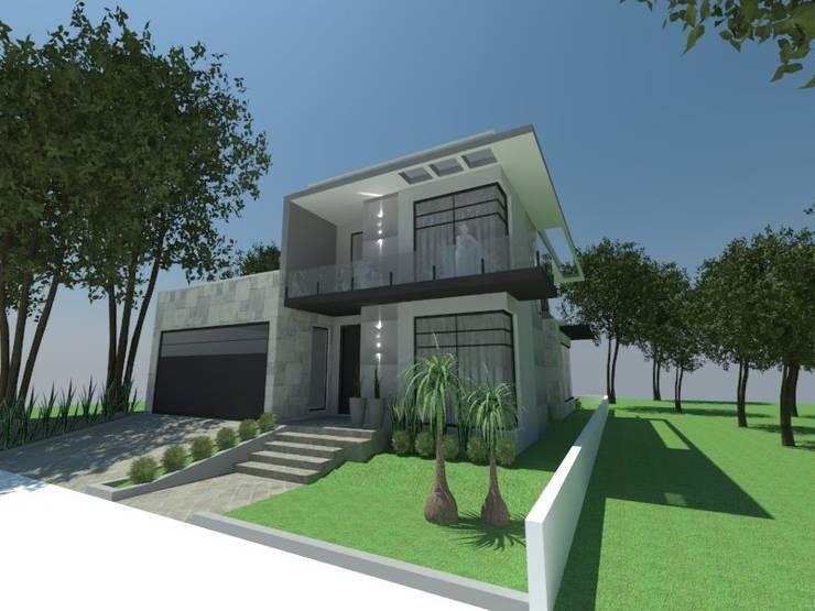 Fachada casa: Casas  por Atelier de Arquitetura Arquitetas Bianca e Bárbara Lehmkuhl,Moderno
