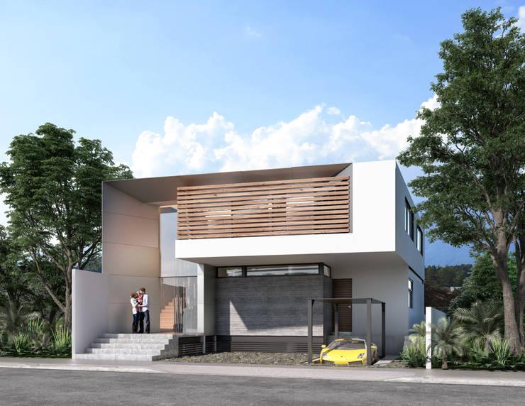FACHADA PRINCIPAL PROYECTO CASA ZL: Casas de estilo moderno por ORTHER Architects