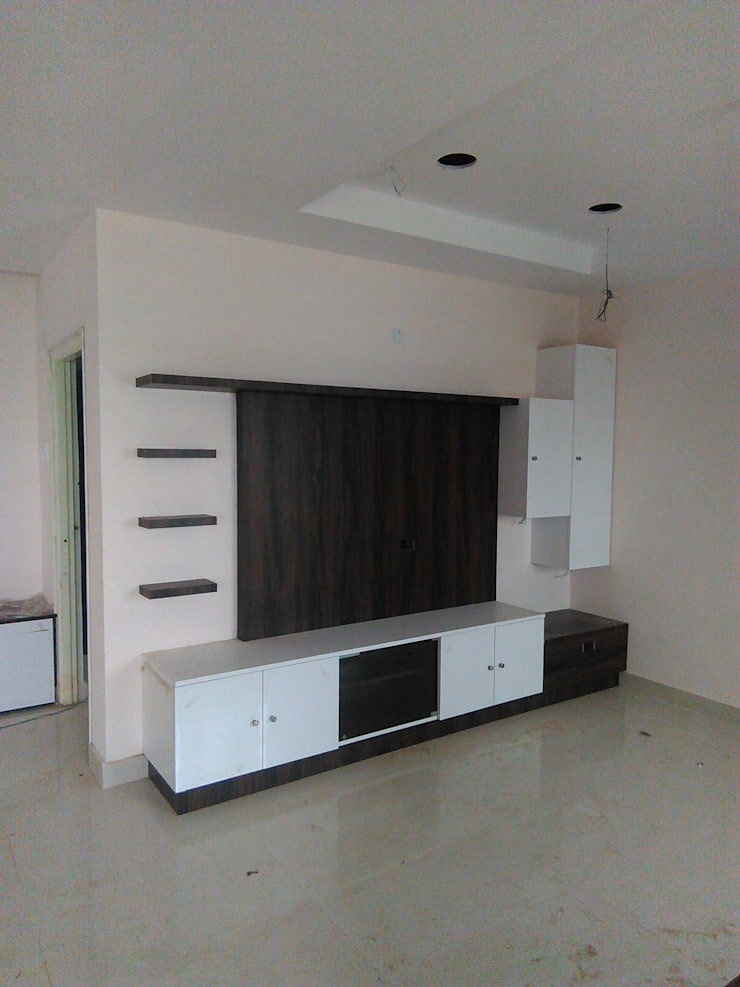 TV unit: minimalistic Living room by BYOD Dezigns