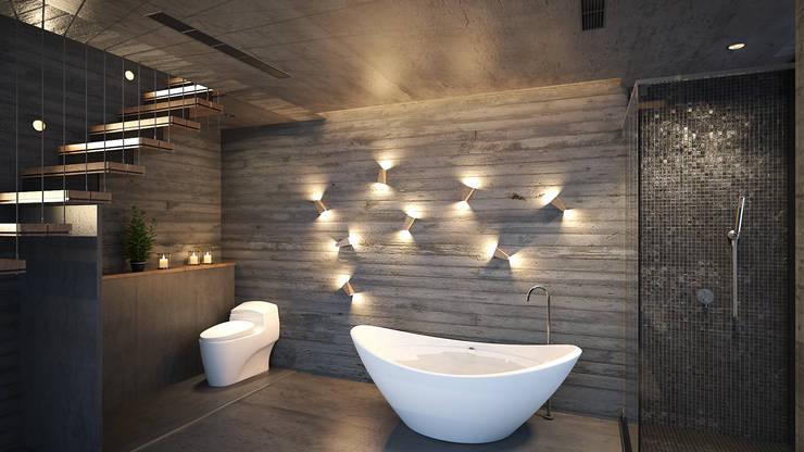 簡約前衛:  浴室 by 禾御建築室內設計有限公司