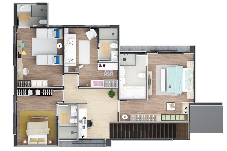 Planta Superior: Casas  por Laboratório Treze Arquitetura + Design