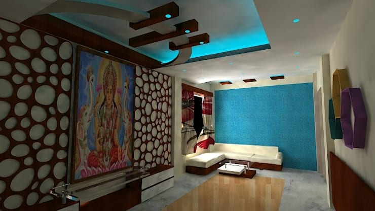 Mr and Mrs khandelwal's House :  Living room by Grace Decore