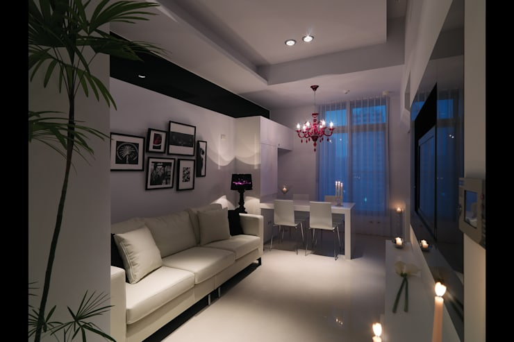 中和張宅:  客廳 by 邑法室內裝修設計有限公司