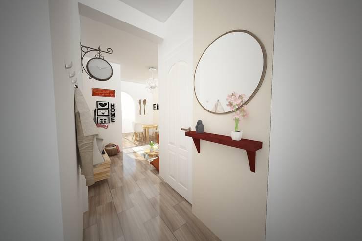 Projecto 3D - Entrada apartamento: Corredores e halls de entrada  por Espaços Renovados