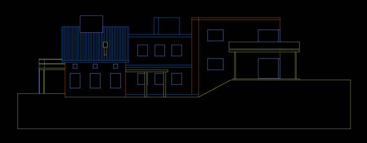 Casa en las Sierras de Córdoba. Fachada lateral. :  de estilo  por AyC Arquitectura,