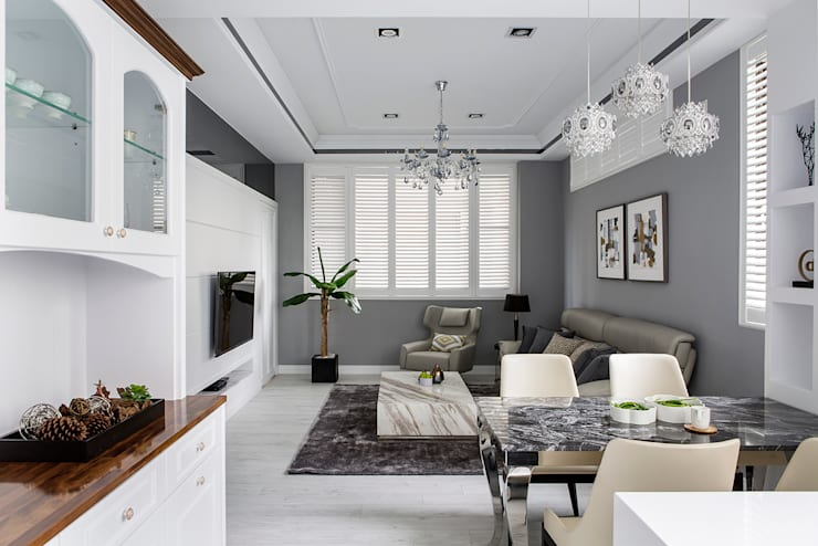 朵朵-透天:  客廳 by 齊家。空間設計