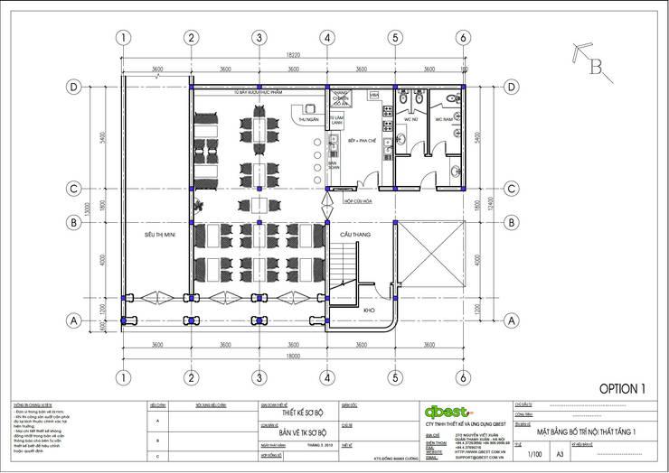 Mặt bằng tầng 1:  Bedroom by Công ty TNHH Thiết Kế và Ứng Dụng QBEST