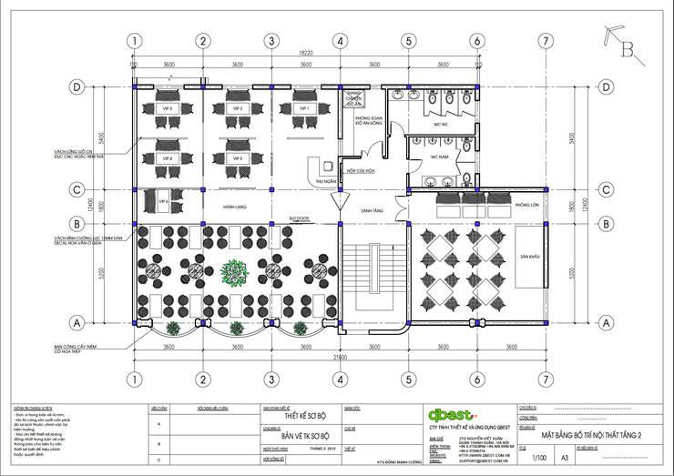 Mặt bằng tầng 2:  Bedroom by Công ty TNHH Thiết Kế và Ứng Dụng QBEST
