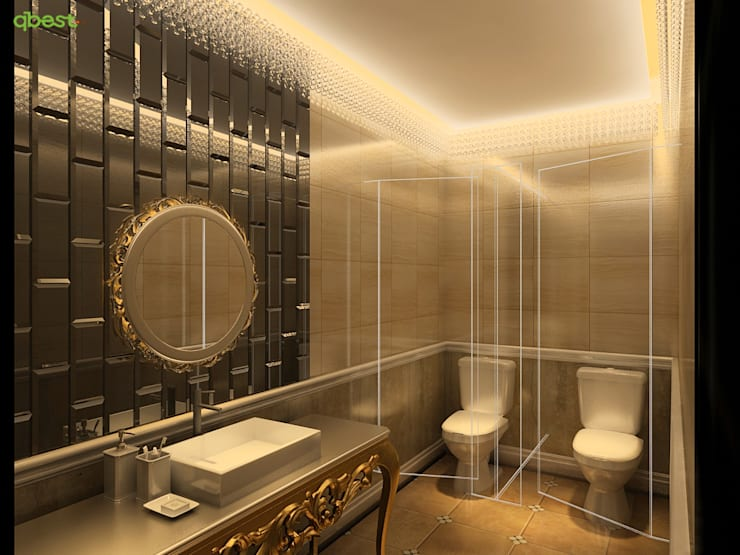 Phối cảnh nội thất rest room:  Bedroom by Công ty TNHH Thiết Kế và Ứng Dụng QBEST