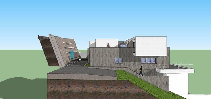 Fachada lateral: Casas de estilo  por MARATEA Estudio