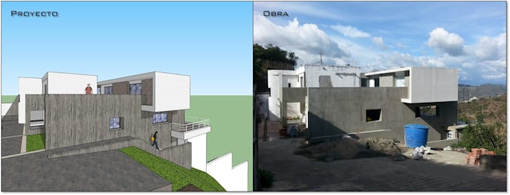 Fachada lateral (Proyecto y obra): Casas de estilo  por MARATEA Estudio