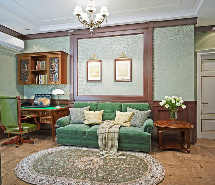 Рабочий кабинет в зеленых тонах: Рабочие кабинеты в . Автор – Студия дизайна Interior Design IDEAS