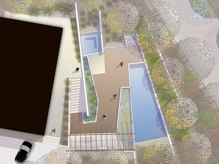 POOL als Pièce Maitresse der Aussengestaltung : modern  von Ecologic City Garden - Paul Marie Creation,Modern
