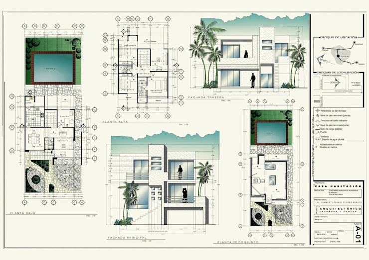 desarrollo proyecto ejecutivo: Casas de estilo  por 3h arquitectos