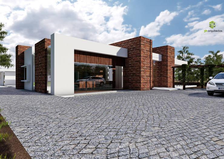 Diseño - visualización arquitectónica - fachada: Casas de estilo moderno por 3h arquitectos