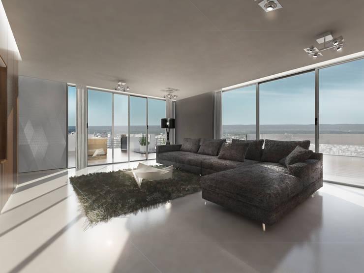 EDIFICIO AGUILA IV: Livings de estilo  por Proa Arquitectura
