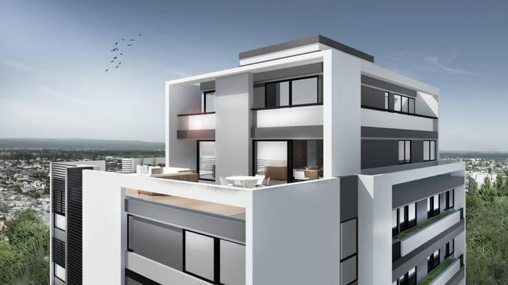 EDIFICIO AGUILA IV: Terrazas de estilo  por Proa Arquitectura