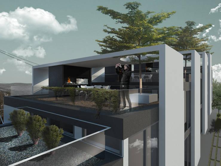 Departamentos en Barrio Gamma: Terrazas de estilo  por Proa Arquitectura