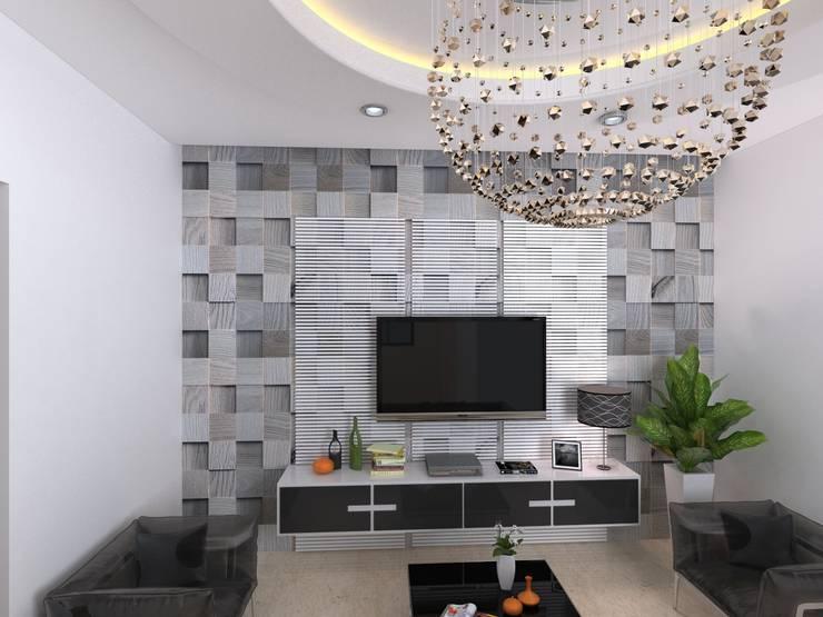 PERAMBUR RESIDENCE:  Living room by quality design studio
